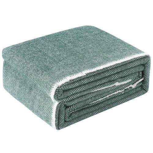 Accessorize Green Herringbone Wool Blanket