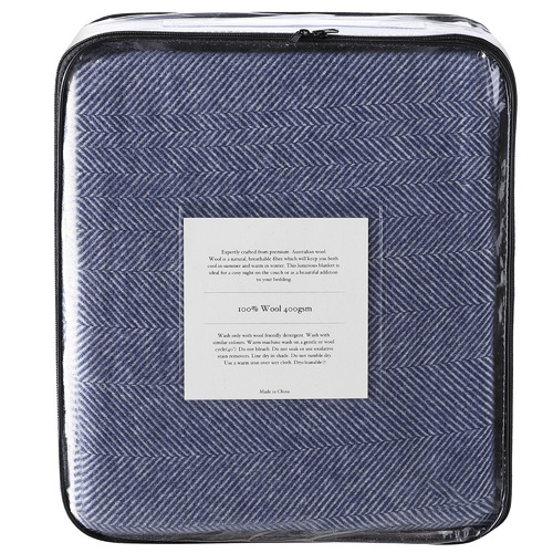 Accessorize Navy Herringbone Wool Blanket