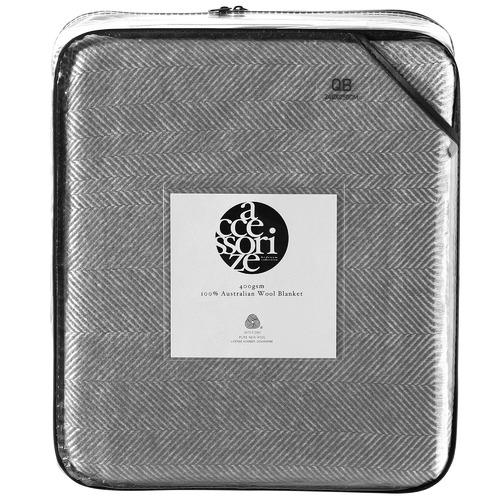 Accessorize Grey Herringbone Wool Blanket