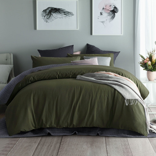 Olive Waffle Cotton Quilt Cover Set