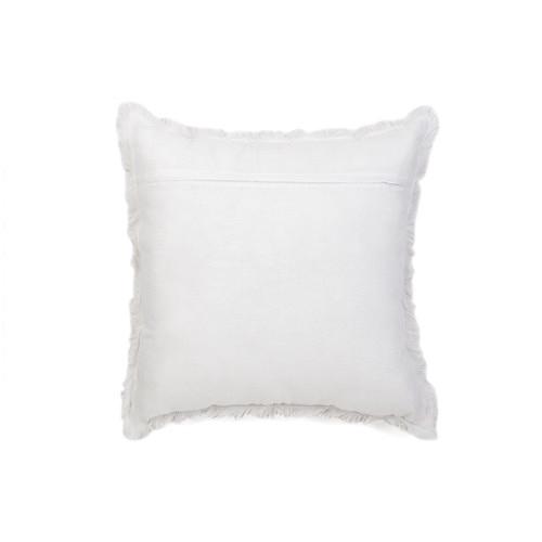 Quayside Trading Beige & White Linen Fringed European Cushion