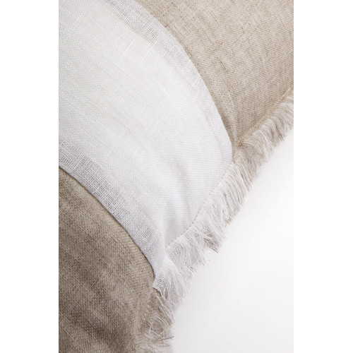 Alexander Santorini Imports Striped Beige & White Linen Fringed European Cushion