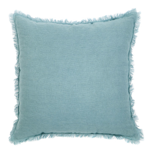 duck egg blue white linen fringed european cushion. Black Bedroom Furniture Sets. Home Design Ideas
