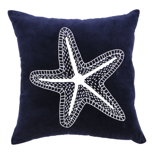 Quayside Trading Navy Blue Velvet Star Fish Cushion