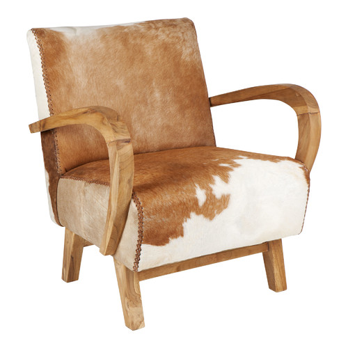 Quayside Trading Brown & White Relax Cowhide Chair