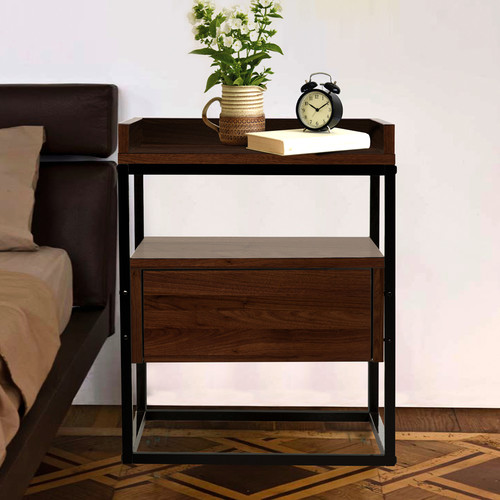 Walnut Brock Industrial Style Bedside Table Temple Amp Webster