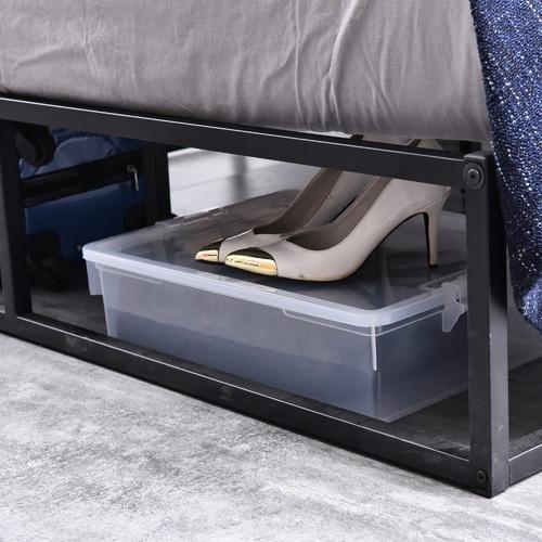 Brooklyn Home Kian Queen Metal Bed & Faux Leather Weave Bedhead