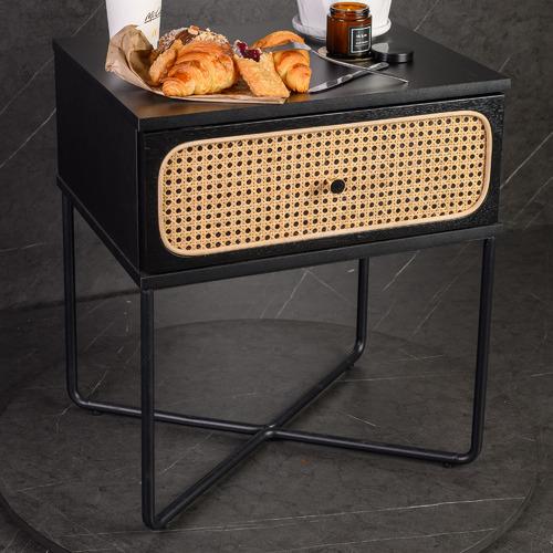 Black Marco Rattan Bedside Table