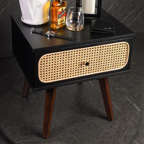 Black Miriam Rattan Bedside Table