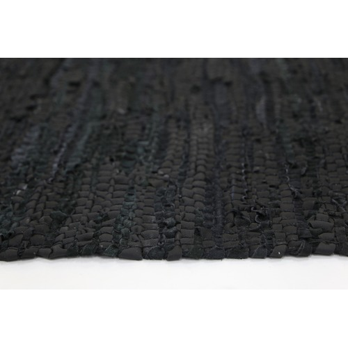 Lifestyle Floors Black Gypsy Hand-Tied Genuine Leather Rug