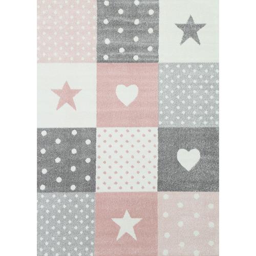 Lifestyle Floors Pink & Grey Happy Kids Rug