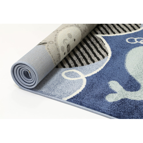 Lifestyle Floors Blue Happy Kids Sailing Ship Rug