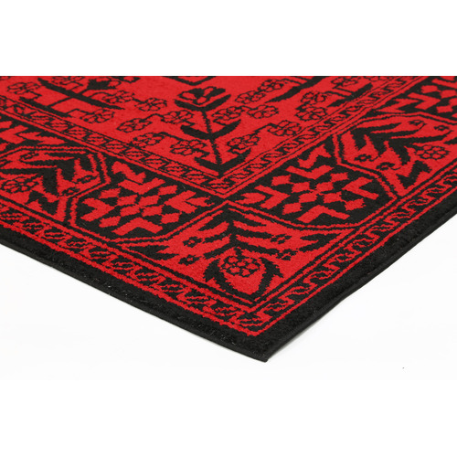 Lifestyle Floors Red Tribute Oriental Afghan Inspired Rug