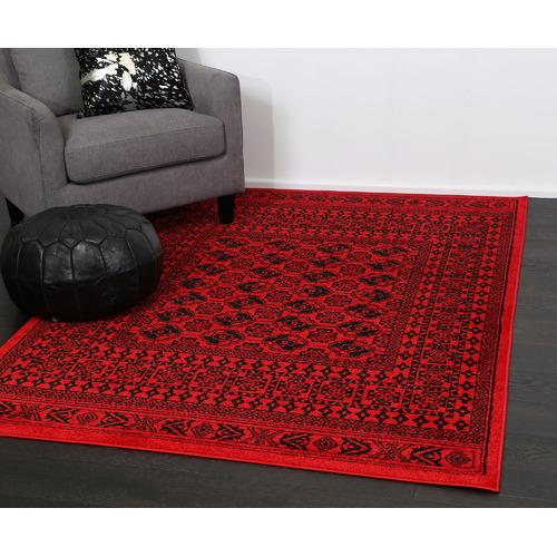 Lifestyle Floors Red & Black Tribute Afghan Inspired Rug