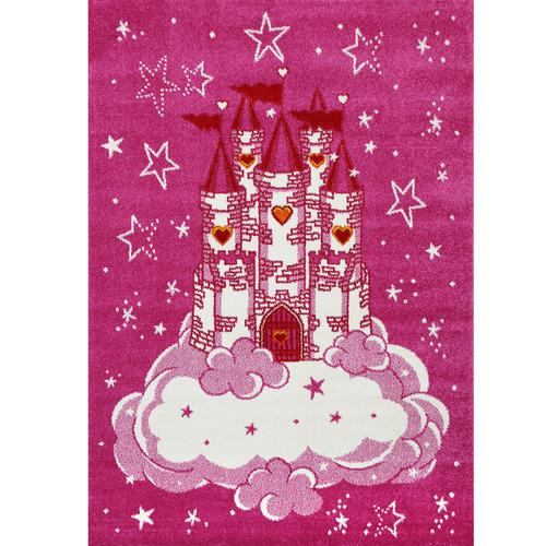 Lifestyle Floors Pink Happy Kids Castle Rug