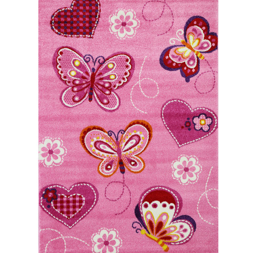 Lifestyle Floors Pink Happy Kids Butterfly Rug