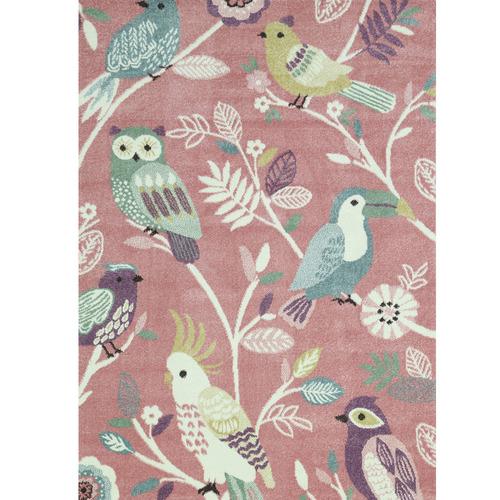 Lifestyle Floors Pastel Pink Kids Birds Rug