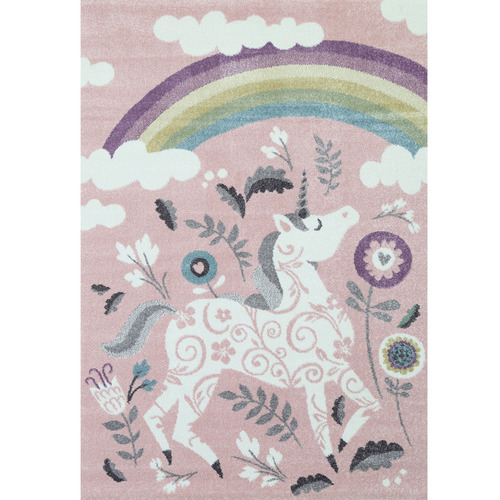Lifestyle Floors Pink Happy Kids Unicorn Rug