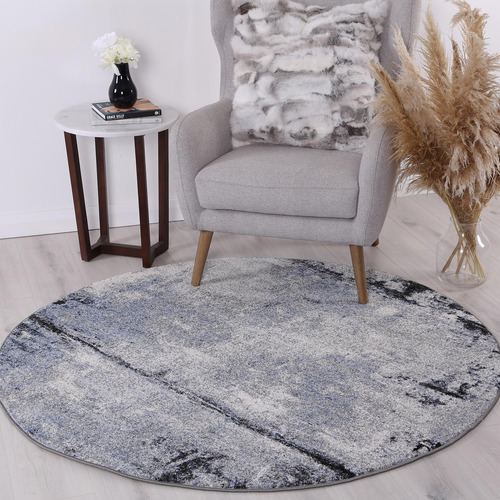 Lifestyle Floors Grey & Blue Chello I Round Rug