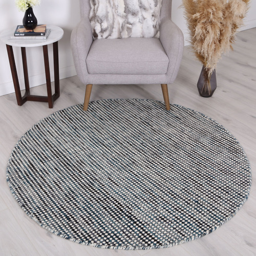 Lifestyle Floors Indigo Skandi Wool-Blend Round Rug