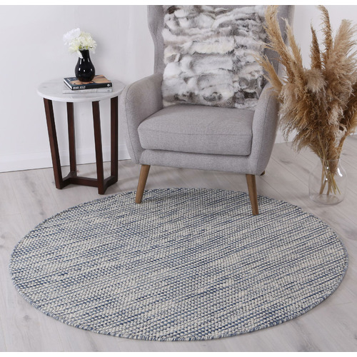 Lifestyle Floors Navy Skandi Hand Woven Wool-Blend Round Rug