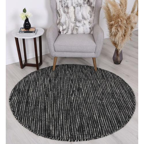 Lifestyle Floors Black Skandi Hand Woven Wool Round Rug