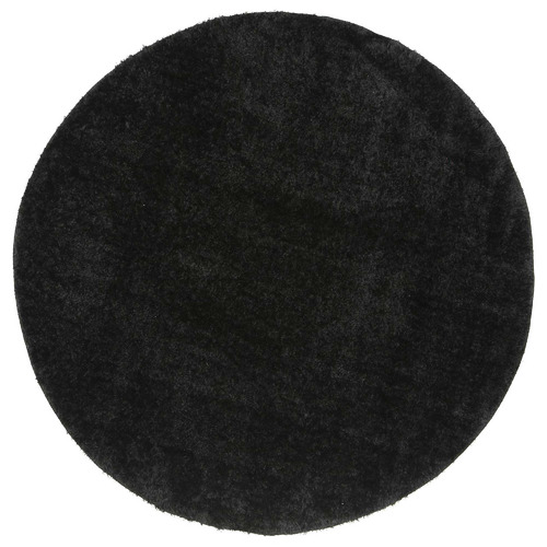 Lifestyle Floors Black Eden Soft Shag Round Rug