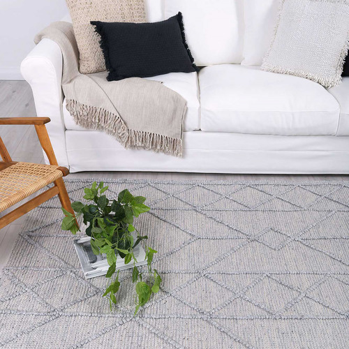Lifestyle Floors Grey African-Inspired Flat Weave Wool-Blend Rug