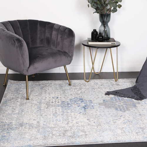Lifestyle Floors Grey & Navy Blue Expressions Oriental Rug