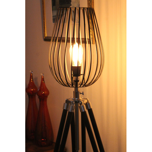 Fat Shack Vintage Tripod Floor Lamp With Black Wire Cage