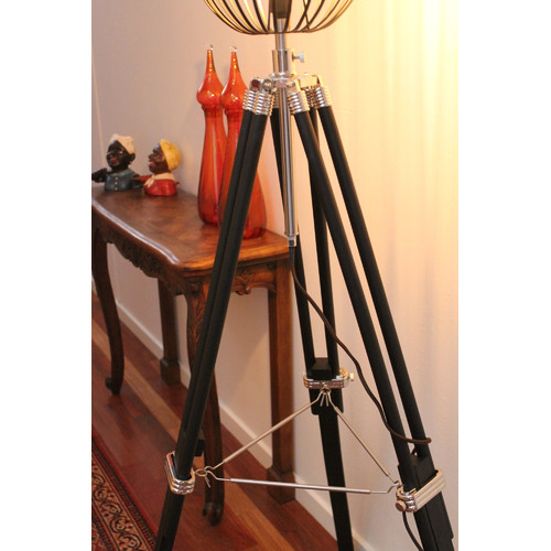 Fat shack vintage tripod floor lamp with black wire cage light shade fat shack vintage tripod floor lamp with black wire cage light shade greentooth Images