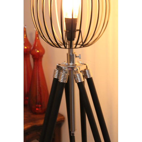 Fat shack vintage tripod floor lamp with black wire cage light fat shack vintage tripod floor lamp with black wire cage light shade keyboard keysfo Choice Image