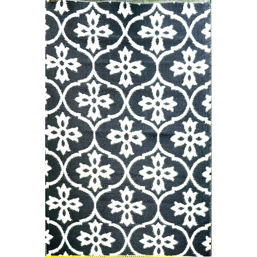 White & Black Moroccan Tile Rug