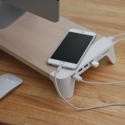 Corner Office Pallo Woody Fast Charging Hub Monitor Stand