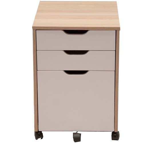 Corner Office Natural & White Carson Mobile Pedestal Cabinet