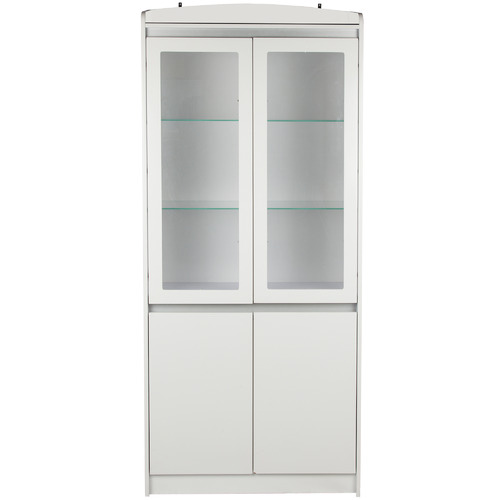 Corner Office Satin White Aspen 4 Door Bookcase