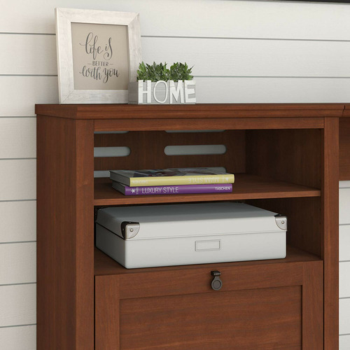 Corner Office Serene Cherry George Desk & Hutch