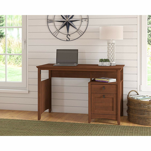 Corner Office Serene Cherry George Computer Desk with Drawers