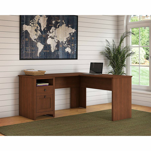 Corner Office Serene Cherry George L-Shaped Desk with Drawers