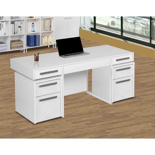 Corner Office White Sheridan Desk with Mobile Pedestals