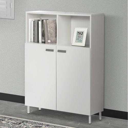 Corner Office White Sheridan Storage Cabinet with Shelves