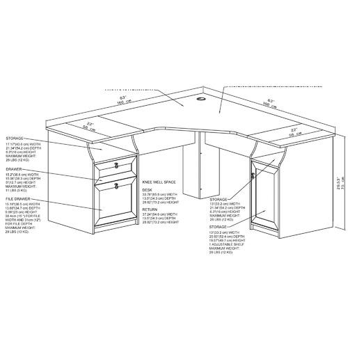 Corner Office Grey & White Bronville 2 Drawer Corner Desk