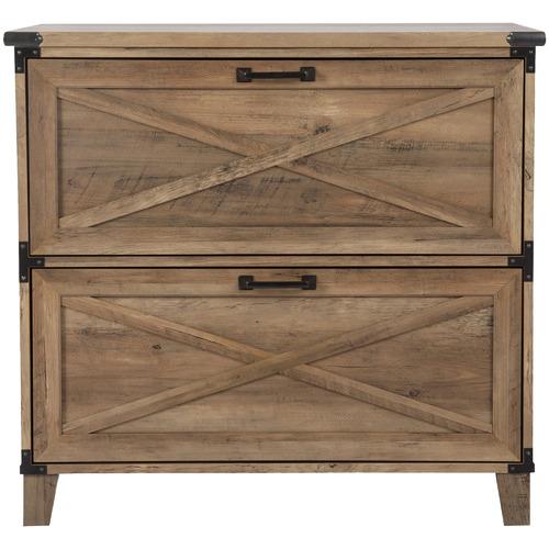 Corner Office Rustic Dark Timber Oswald 2 Drawer Filing Cabinet