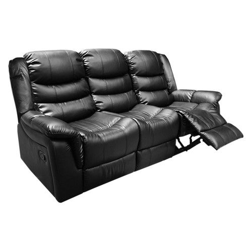 Southern Stylers Black PU Leather Alan 3 Seater Recliner Lounge
