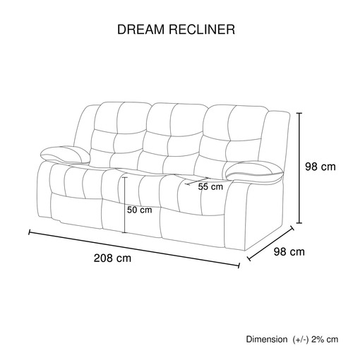 Southern Stylers Reese 3 Seater Recliner Sofa