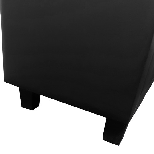 Southern Stylers Black Milan Faux Leather Bedside Table
