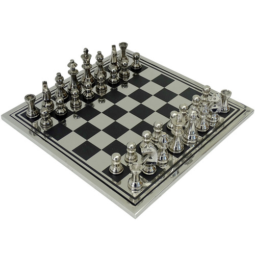 The Medford Collective Silver & Black Hewitt Chess Board