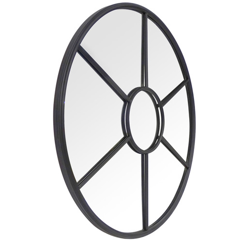 The Medford Collective Matte Black Carter Round Wall Mirror