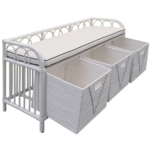 The Medford Collective Georgia Bamboo & Rattan Ottoman with Baskets