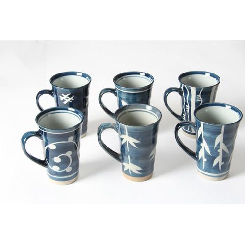 Lifestyle Traders Stoneware 6 Piece Mug Set in Bamboo Blue